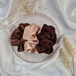 Nude & Brown Silk Scrunchies