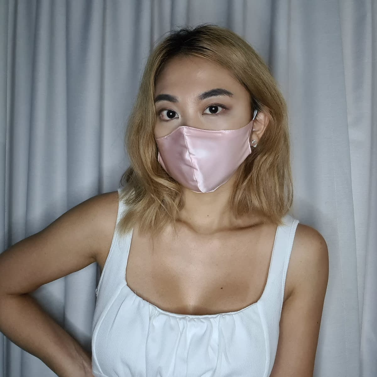 Pink Silk Face Mask