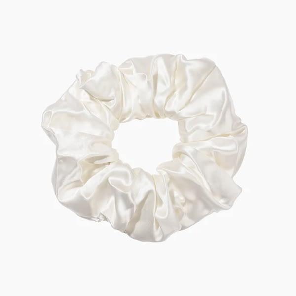 June The Six White Silk Scrunchie Jumbo