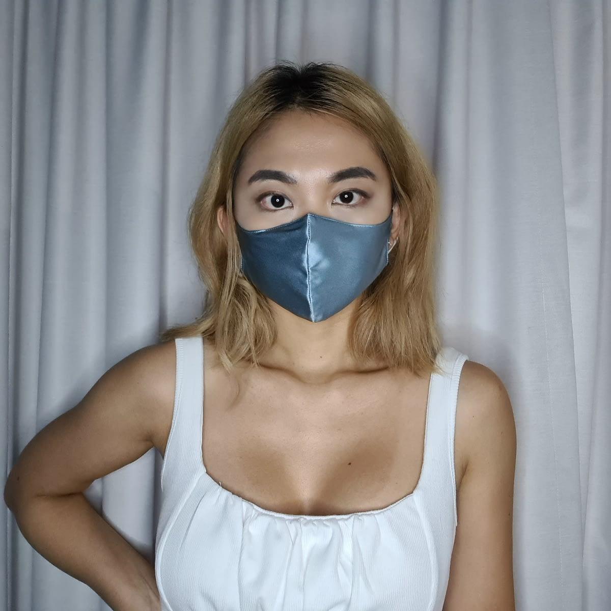Blue Silk Face Mask