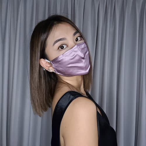 Model with Silk Face Mask Purple