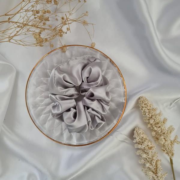 Oyster Silver Grey Silk Scrunchies