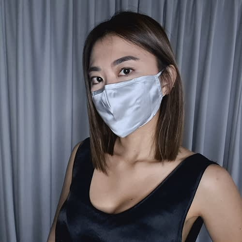Mulberry Silk Face Mask Silver