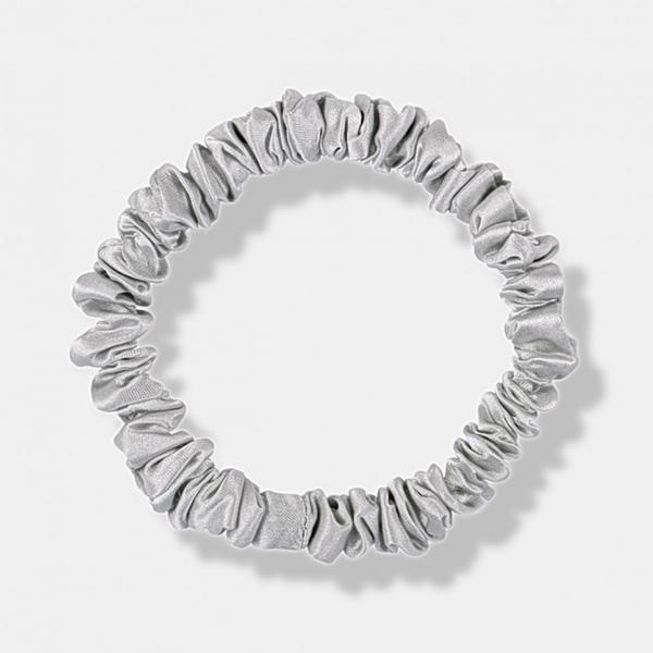 Skinny Silk Scrunchie Silver