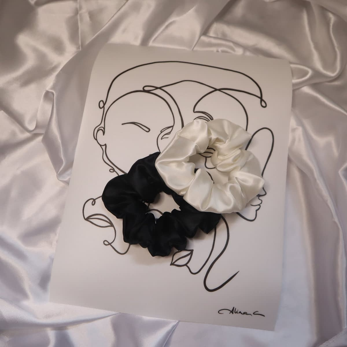 Silk Scrunchies Black White June The Six