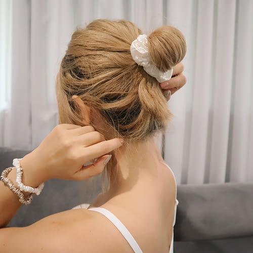 Ivory White Silk Scrunchies Messy Bun
