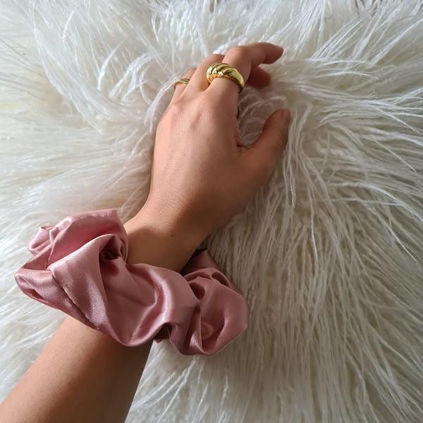 Pretty Pink Silk Scrunchies