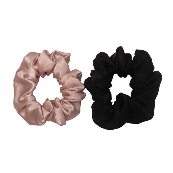 Black Blush Jumbo Silk Scrunchie Set
