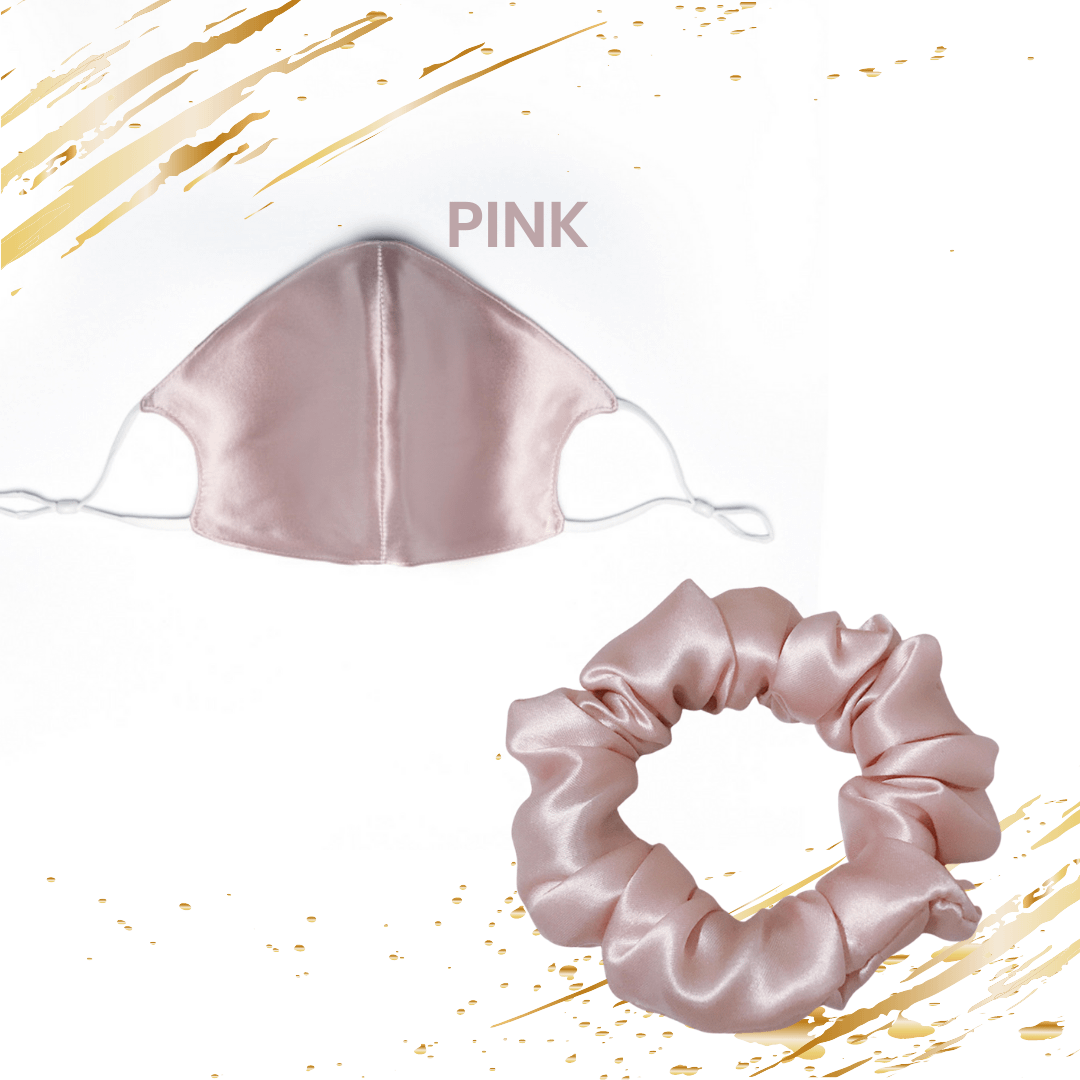 June The Six Pink Silk Face Mask and Scrunchie Gift Set