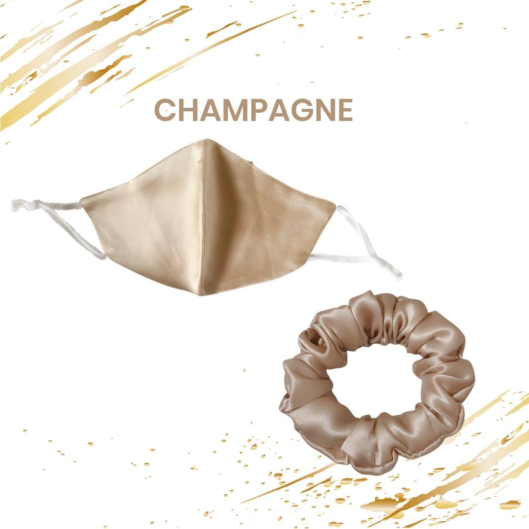 June The Six Champagne Silk Scrunchies