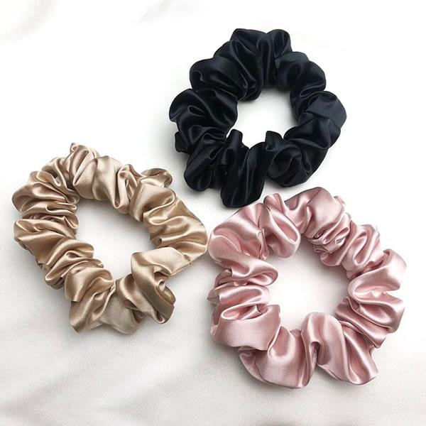 Black Pink Gold silk Scrunchies