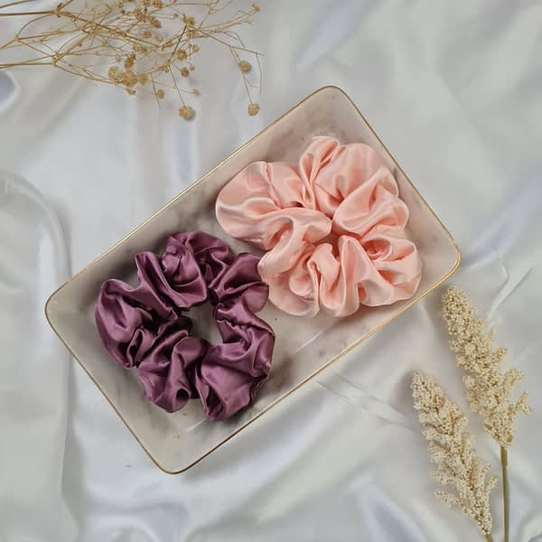 Pink and Peony Silk Scrunchies