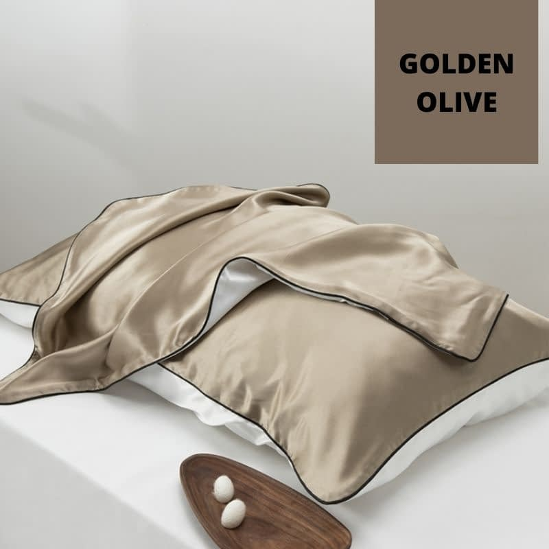 Golden olive silk pillowcase