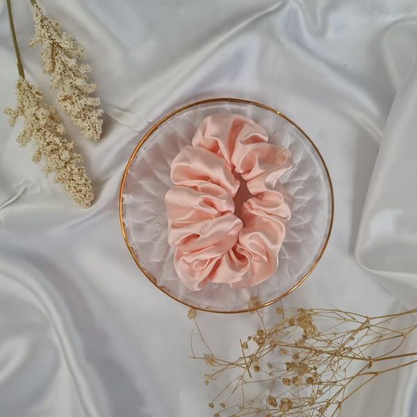 Large Peach Silk Scrunchie