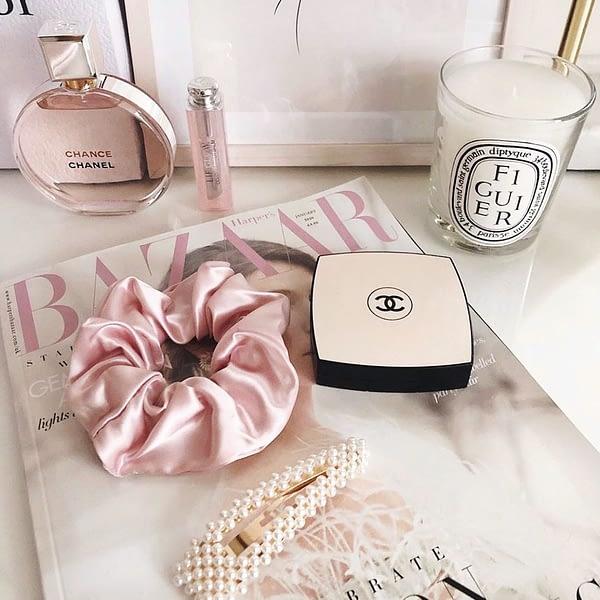 June The Six Pink Silk Scrunchie