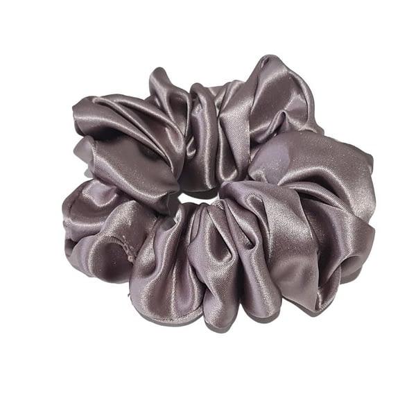 Large silk scrunchie pewter