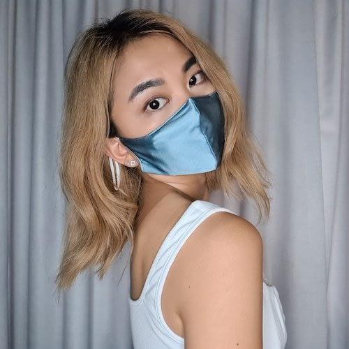 Silk Face Mask Light Blue June The Six