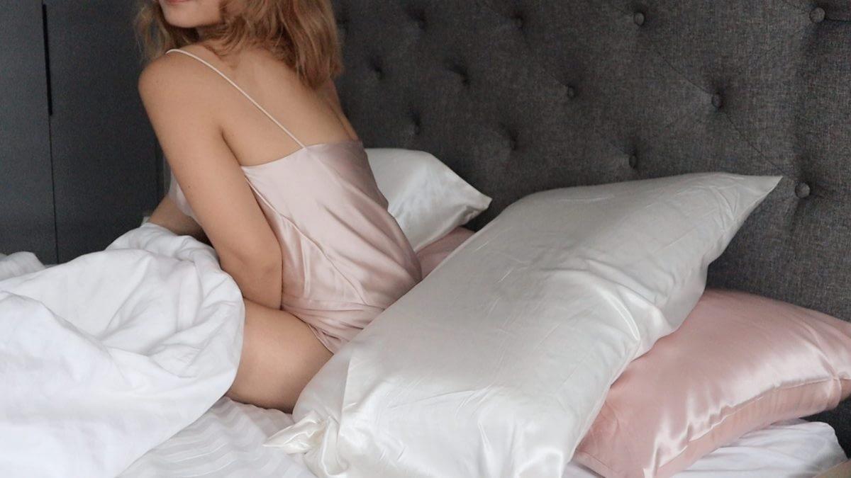 Pink Silk Camisole Ivory Pillowcase