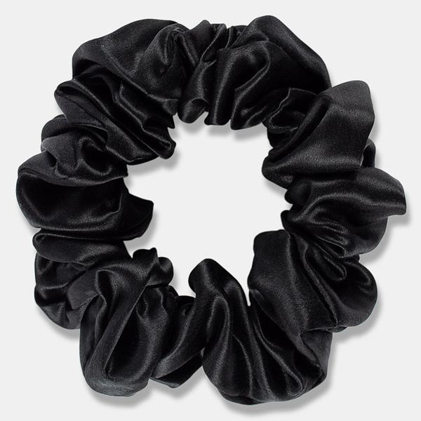 Large Silk Scrunchie Black