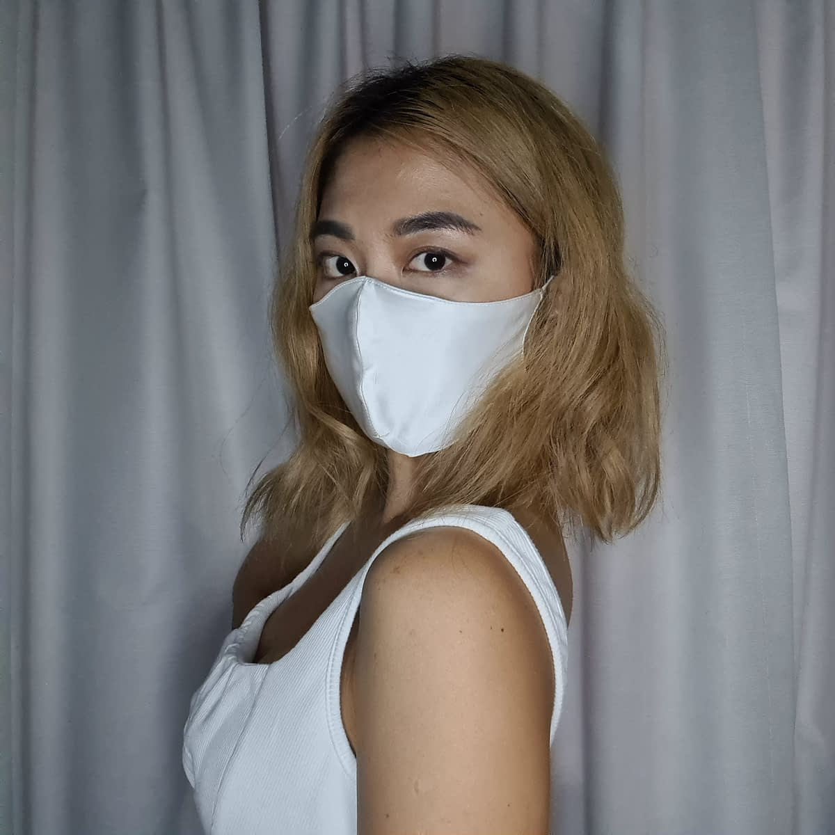 White Silk Face Mask