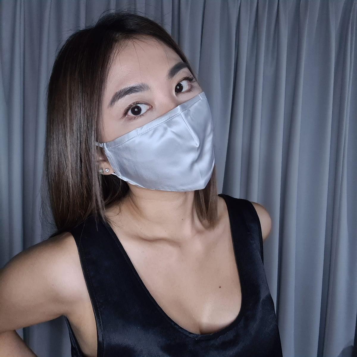 3 Layer Silk Face Mask Silver