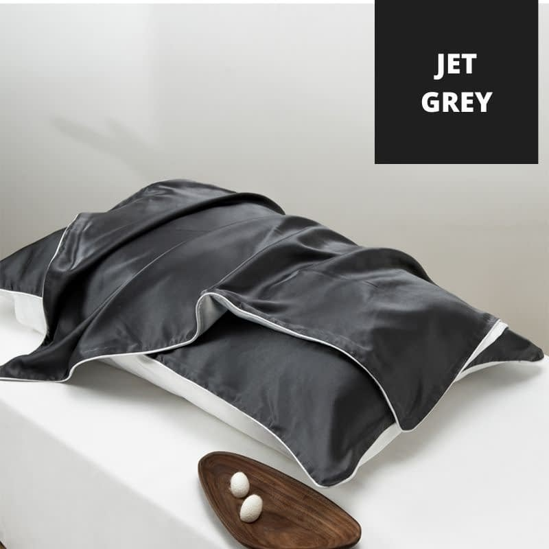 Dark Grey Silk Pillowcase