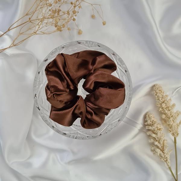 Chocolate Mocha Brown Silk Scrunchie